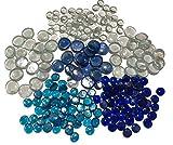 FAIRY TAIL & GLITZER FEE 210 Stück Deko-Steinen Granulate 20 bis 40mm Glas-Steine Streugranulat Tischdekoration Vasen-Füllungen Flache Glas Steine Glitzersteine Dekoschalen klar blau