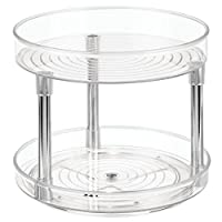 iDesign Rotatable Spice Rack with 2 Tiers, Small Plastic Kitchen Cupboard Storage for Spices and Condiments, Rotating Spice Jars Holder for Kitchen and Pantry, Clear