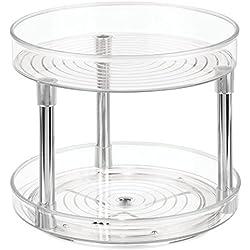 iDesign plateau tournant pour le placard, plateau pivotant en plastique à 2 étages, socle tournant pour épices et ingrédients de cuisine, transparent