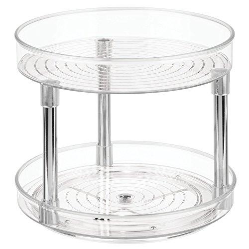 iDesign Küchen Organizer, großer Drehteller mit 2 Ebenen aus BPA-freiem Kunststoff für den Vorratsschrank, drehbarer Gewürzhalter für Vorratsdosen und Gewürze, durchsichtig