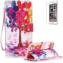 Funyye - Funda de piel de diseño elegante, modelo con flor de loto de colores, soporte a modo de libro, tipo cartera, con película protectora para iPhone 5/5S y iPhone SE Color-03 iphone 6/6S