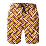 wwoman Pantalones Cortos de natación de Corte rápido para Tabla de Playa, Tejido de Bandera de España, XL