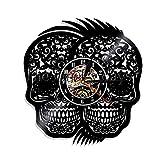 Lanlugg 1 Pieza de Los Muertos Día de la Muerte Disco de Vinilo Reloj de Pared Reciclado Cráneos Mexicanos Tatuajes Vintage Reloj de Pared Decoración de Halloween