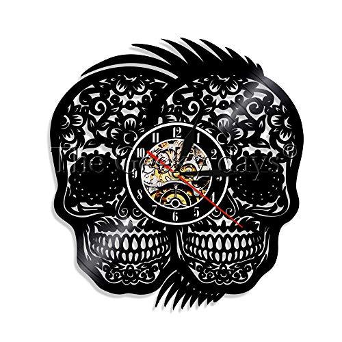 os Muertos Tag Der Toten Vinyl Rekord Recycelt Mexikanische Schädel Tattoos Vintage Halloween Decor ()