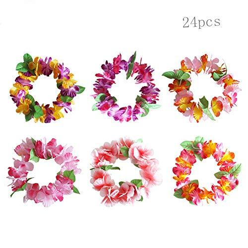 JIESD-Z Hawaii-Girlanden für Partys in 6 Farben, Hawaii-Blumen, für Sommer, Strand, Party, Dekoration, 24 Stück