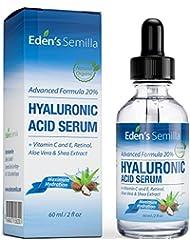 Sérum à l'Acide Hyaluronique 60ml - Un des meilleurs hydratants anti-âge. Repulpe et lisse les rides et ridules. Contient de la Vitamine C, du Rétinol, une Protection Antioxydante à la Vitamine E et un Booster de Collagène pour une peau plus radieuse, plus saine. Bouchon sécurisé pour les enfants.