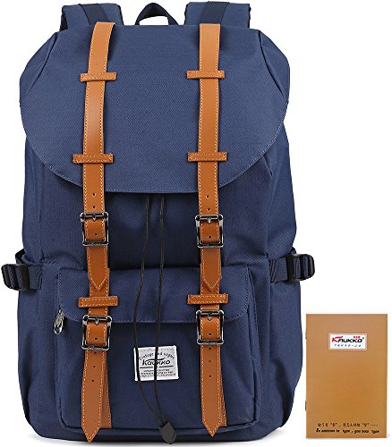 KAUKKO Unisexe Multifonction Nylon Vintage Sac de Randonnée Sac à Dos Cartable Nylon (Bleu)