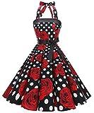 Timormode Robe Rétro Vintage Femme Année 40 50 60 Robe de Cocktail Rockabilly Décolleté 10212Black Rose XL