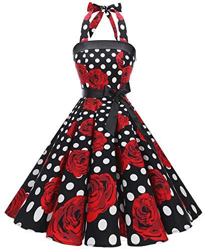 Timormode 10212 1950er Vintage Kleider Damen Rockabilly Kurz Cocktailkleid Neckholder Schwarz Rose...
