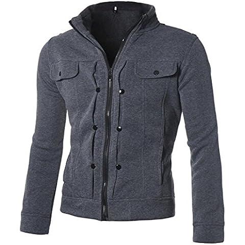 FEITONG De manga larga para hombre ' Tops camiseta de la cremallera Capa de la chaqueta Outwear
