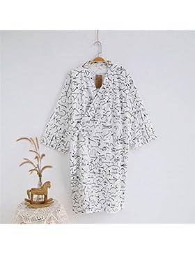 SUxian Gran Albornoz de Verano de los Hombres Albornoz de Estilo geométrico del algodón de la Rebeca del Pijama