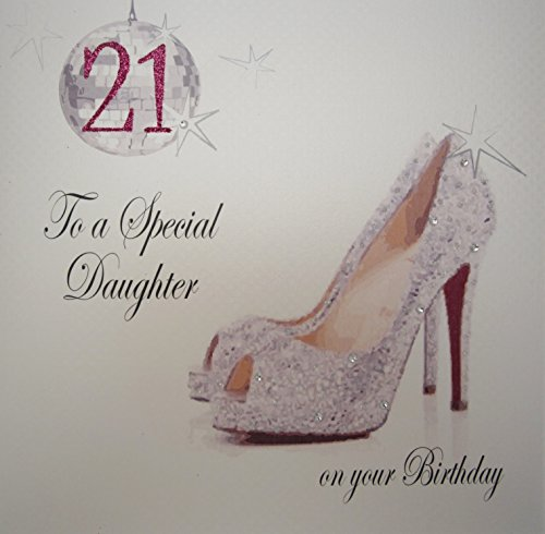 WHITE COTTON CARDS to a Special Daughter On Your 21st Birthday Card Weiß (80th Birthday Card)