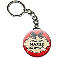 Meilleure Mamie du Monde Porte Clés Chaînette 3,8 centimètres Idée Cadeau Accessoire pour la Fête des Grands Mères Noël Anniversaire Mamy