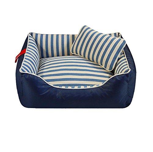DAN Hundebett Haustierbett für Katzen und Hunde Rechteck Ultra Weicher Plüsch luxuriöse Maschine waschbar, l- for 50 kg Following, Blue