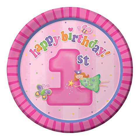 Creative Converting Fun at One Happy First Birthday Girl Round Dessert Plates, Girl, 8 Count