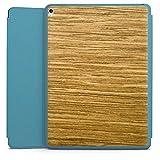 DeinDesign Apple iPad Pro 12.9 (2017) Smart Case hellblau Hülle Tasche mit Ständer Smart Cover Holz Look Eichenholz Maserung