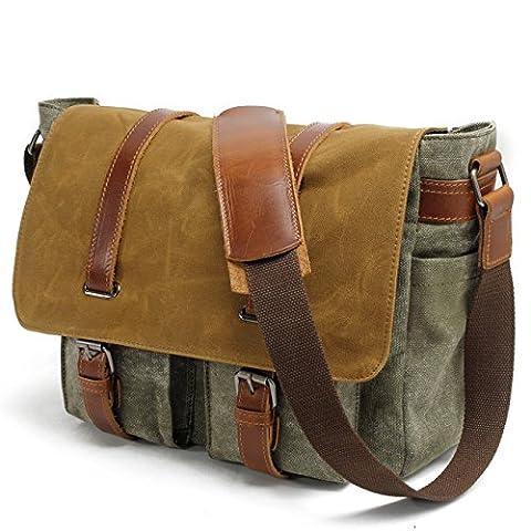 YANGYANJING Waterproof Canvas Unisex Vintage Canvas Genuine Leather Messenger Bag Travel Briefcase Crossbody Satchel Shoulder Bag Fits 14 inch Laptop (Green)