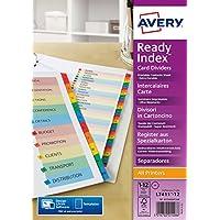 Avery 01736501 Ready Index - Separadores (con índice personalizable de 12 casillas en varios colores, papel ecológico, tamaño A4), color blanco