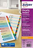 Avery ReadyIndex Dividers with Coloured Contents Sheet Matching Mylar Tabs 1-12 Ref L7411-12R