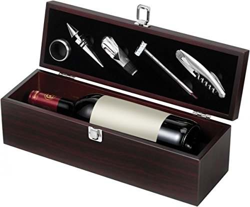 Sommelierset Weinset Weingarnitur Weinbox Dekantierset Geschenkset mit Holzschatulle Holzkoffer von geschenkartikel-shopping