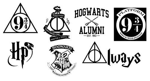 Set von 7Aufbügel-Stoffapplikationen, Siebdruck, Applikatio, maschinenwaschbar, Transfer, Hogwarts, Harry Potter, Heiligtümer des Todes, King's Cross Plattform 93/4 (Siebdruck Patch)