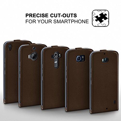 iPhone 6S Plus Hülle Schwarz [OneFlow 360° Klapp-Hülle] Etui thin Handytasche Dünn Handyhülle für iPhone 6 Plus / 6S + Plus Case Flip Cover Schutzhülle Kunst-Leder Tasche OXIDE-BROWN