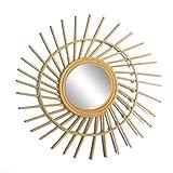 Specchio Rotondo, a Forma di Sole, in Rattan, Diametro: 38 cm, Natural Wood Ratan Boho Chic - Ingresso per corridoio Bagno - Specchio da Parete