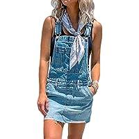 Vestito Salopette de Denim Donna Senza Maniche Abito di Jeans Estiva Casual Gonna Corta Moda Buco Strappato Vestito…
