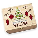 personalisierbar Weihnachtsbaum bedruckt Christmas Eve Holz Geschenkbox
