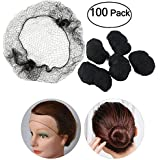 100pcs Hair Nets Invisible Elastic Edge Mesh (Black) by OULII
