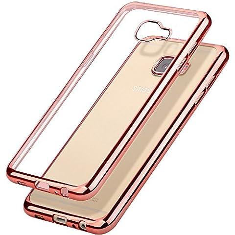 Samsung Galaxy A5(2016) Funda, Yica Enchapado Parachoque [Protección Contra Caídas][Metal Electroplating Tecnología] Suave Flexible TPU Silicona GEL Protector Caso de la Cubierta para Galaxy A5(Oro Rosa)