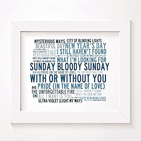 `Crystalline` Art Print - U2 - Signed & Numbered Limited Edition Typography Unframed 25 x 20 cm (10 x 8 inch) Singles Wall Art Print - Song Lyrics Mini Poster