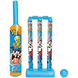 Zitto Looney Tunes Mini Cricket Set with 1 Plastic Bat and Ball, 3 Wickets, Base and Bail