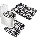 Amagical - Tappetino da bagno, tappetino da wc e fodera per copriwater, set da 3pezzi, in flanella morbida, Flanella, Black and White, 45*75cm