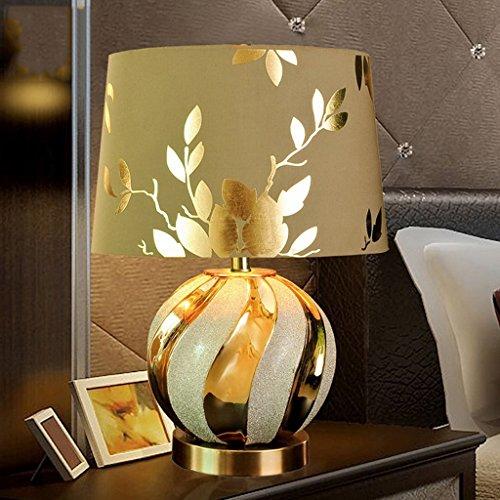Orientalische Porzellan Lampe (Keramische Lampe Schlafzimmer Nachttischlampe, Luxus Gold Lampe Wohnzimmer Studie Keramik Lampe ( Farbe : Schalter-Groß ))