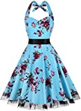 Summer Dresses, OTEN Women Vintage 1950's Floral Halter Neck Rockabilly Swing Dress Light BlueFloral , XX-Large
