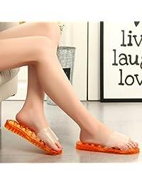 JIA HONG Bad Massage Hausschuhe Home Interior Schuhe Sandalen Kunststoff Crystal Cave Neue Sommer HausschuheOrange...
