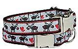 Halsband Weihnachten Hundehalsband Elch Rentier Snowflake Reindeer Hund Christmas grau schwarz rot verstellbar Alu-Klickverschluss S 30 - 40 cm x 2 cm
