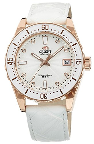 ORIENT Automatic Sports 100M Superior Ladies Watch Rose Gold Tone White Guilloche Dial FAC0A003W