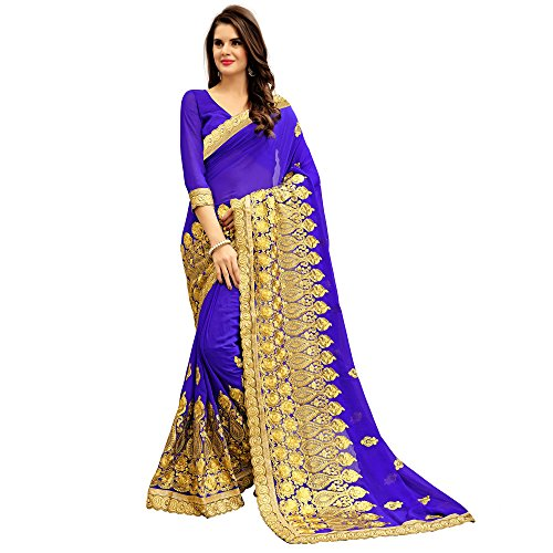 Siddeshwary Fab Women's Blue Georgette Saree With Blouse Piece