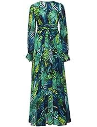 e765fe90649 Masterein Femmes Filles Longue Lanterne Manches Robe Feuille imprimé  Tropical Robes Hem