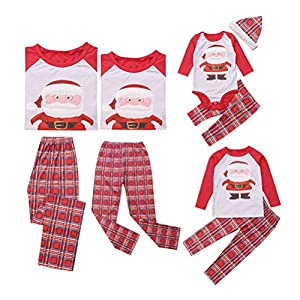 douleway Pijamas de Navidad Familia,