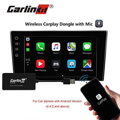 Carlinkit Wireless Carplay Dongle USB Adaptor with Mic for Apple Carplay Android Car Head Unit, Navigation/Bluetooth/Android Auto/Upgrade Box/Audio Stereo (Usb-head-unit)