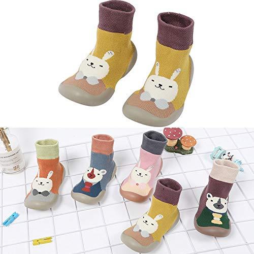 Imagen para Wigxt - Zapatillas de algodón para niños y bebés, Antideslizantes, cálidas, para casa de Invierno, Rosa, 26-27