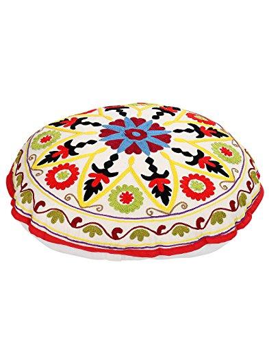 Coperchio ottomano Boemia Bianco Vintage rotonda floreale ricamato poggiapiedi copertura