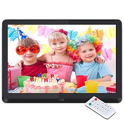 Digitaler Bilderrahmen 10 Zoll Elektronischer Fotorahmen 1920 * 1080 IPS Display Mit automatischer Drehung,Fernbedienung,Steckplätzen für MP3- /HD-Videoplayer/E-Book/Kalender/Wecker,USB- und SD-Karten