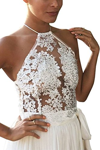 Simplee Apparel le donne sexy con maglie floreale blackless top top scollato ricamati crochet giubbotto bustino Bianco
