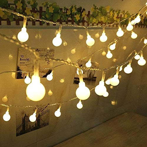 Dekorative Lichterkette mit kugelformigen Leuchten, 100-LEDs, USB-betrieben, für Innen-/Außenbereich (warmweißes Licht)