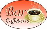 ADESIVO OVALE CAFFE PER BANCO VETRINE GELATERIA GELATERIE usato  Spedito ovunque in Italia