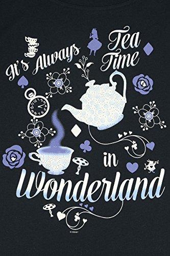 Alice in Wonderland It's Always Tea Time Maglia Donna Nero Nero